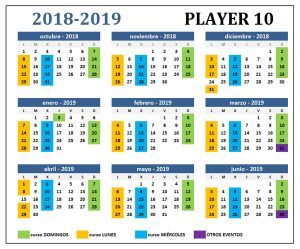 Calendario Player 10